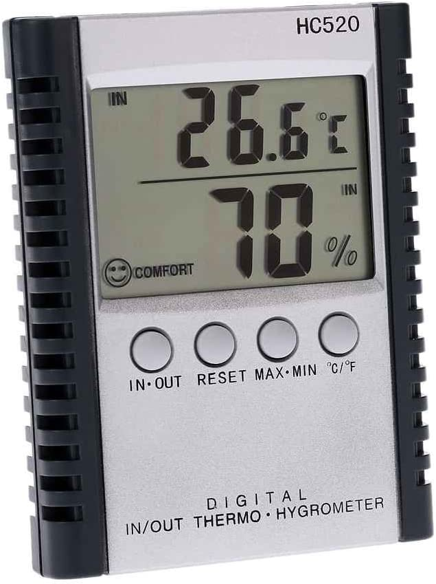 Uzinb HC520 Digital In//Out Thermometer Hygrometer Temperature Humidity Meter LCD Weather Station With Sensor Wire