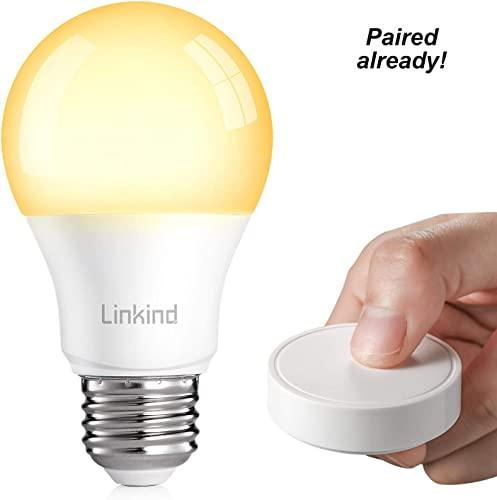 Linkind Smart Bulb Dimming Kit, 1 Zigbee A19 LED Dimmable Bulb 1 One-Key Remote Control, No Hub Required, Installation Free, 131ft Range Control, Exclusive for Linkind Zigbee Lights