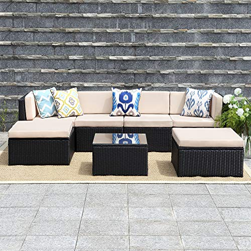 Wisteria Lane 7 Pcs Outdoor Furniture Sets, Patio Sectional Sofa Couch Conversation sets Garden Rattan Chair Glass Table with Ottoman Black Wicker, Beige Cushion ()