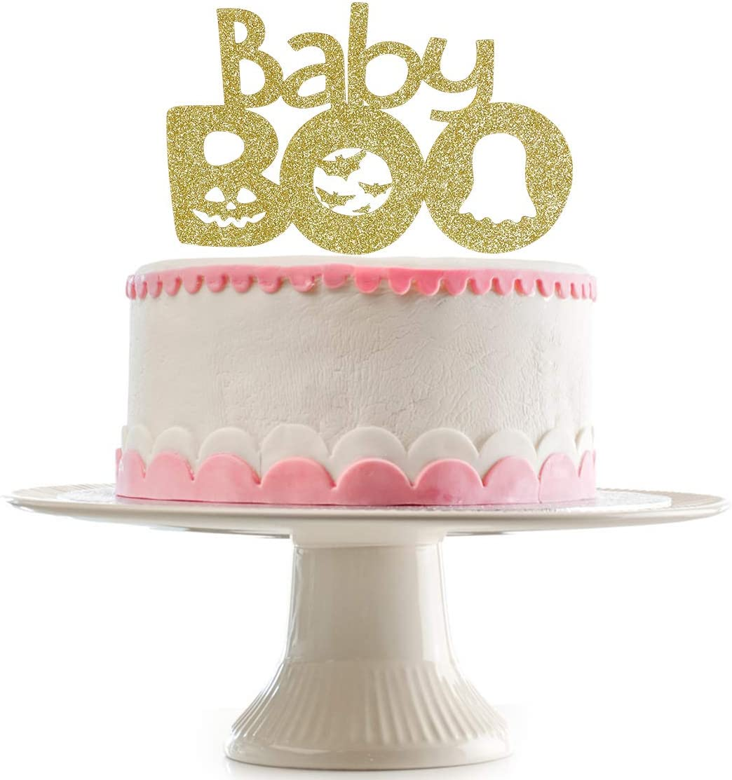 Gold Glittery Baby Boo Cake Topper- Baby Shower Halloween Decoration,Halloween Baby Shower Cake Decor,Halloween Gender Reveal Cake Topper Decor