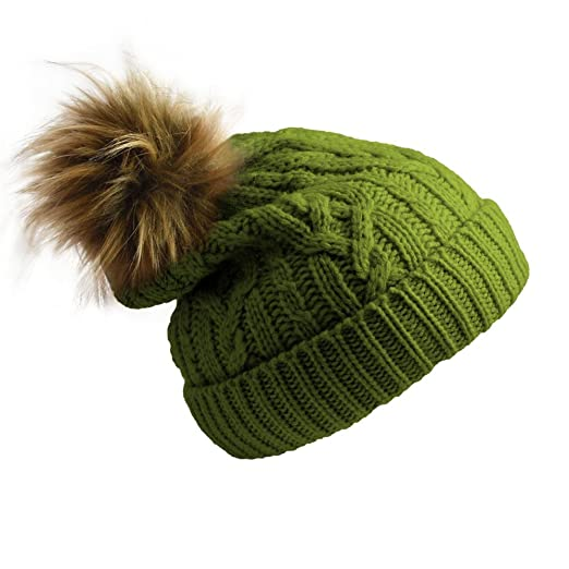 Pudus Cable Knit Green Adult one Size Cozy Winter hat Sherpa Lining ... 5659a8948e4