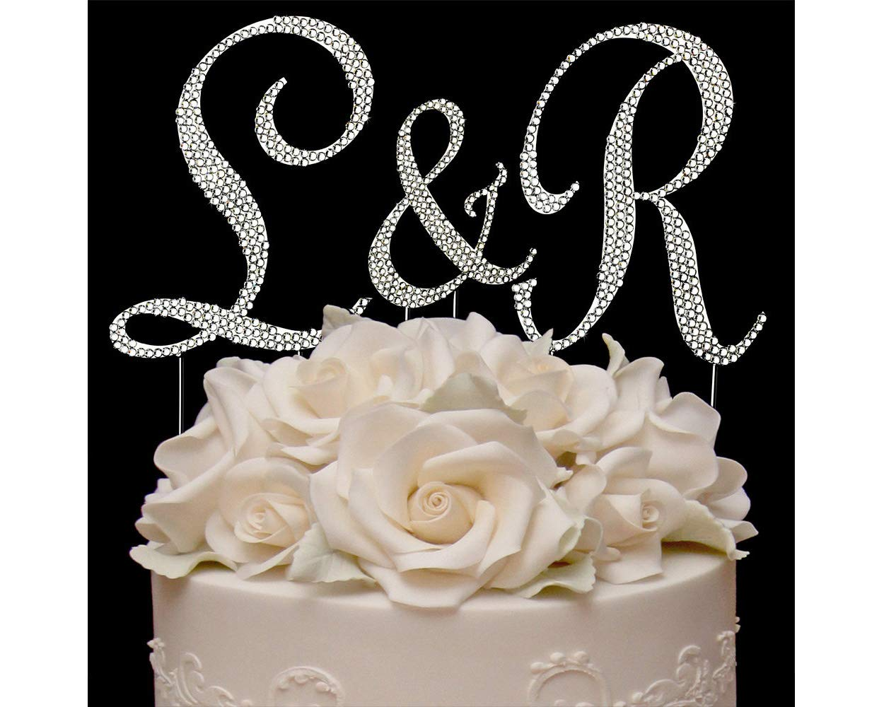 Yacanna Crystal Monogram Wedding Cake Toppers Bling Silver Cake Initials - Set of 3 Letters