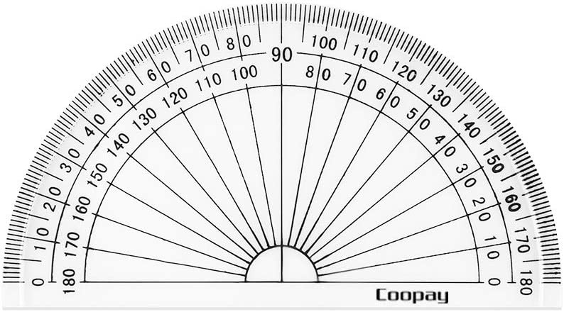 Coopay 24 Pack Plastic Protractors Clear Protractor Student Math Protractor Set 180 Degrees for Angle Measurement, 4 Inches : Office Products