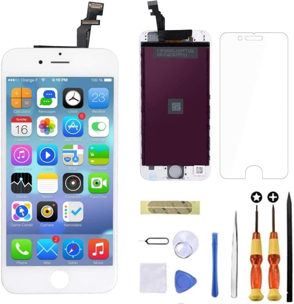 Goldwangwang for iPhone 6 Screen Replacement White,4.7inch LCD Touch Screen Digitizer Replacement Fully Frame Display Assembly Set with Repair Tool kit + Tempered Glass Screen Protector + Instruction