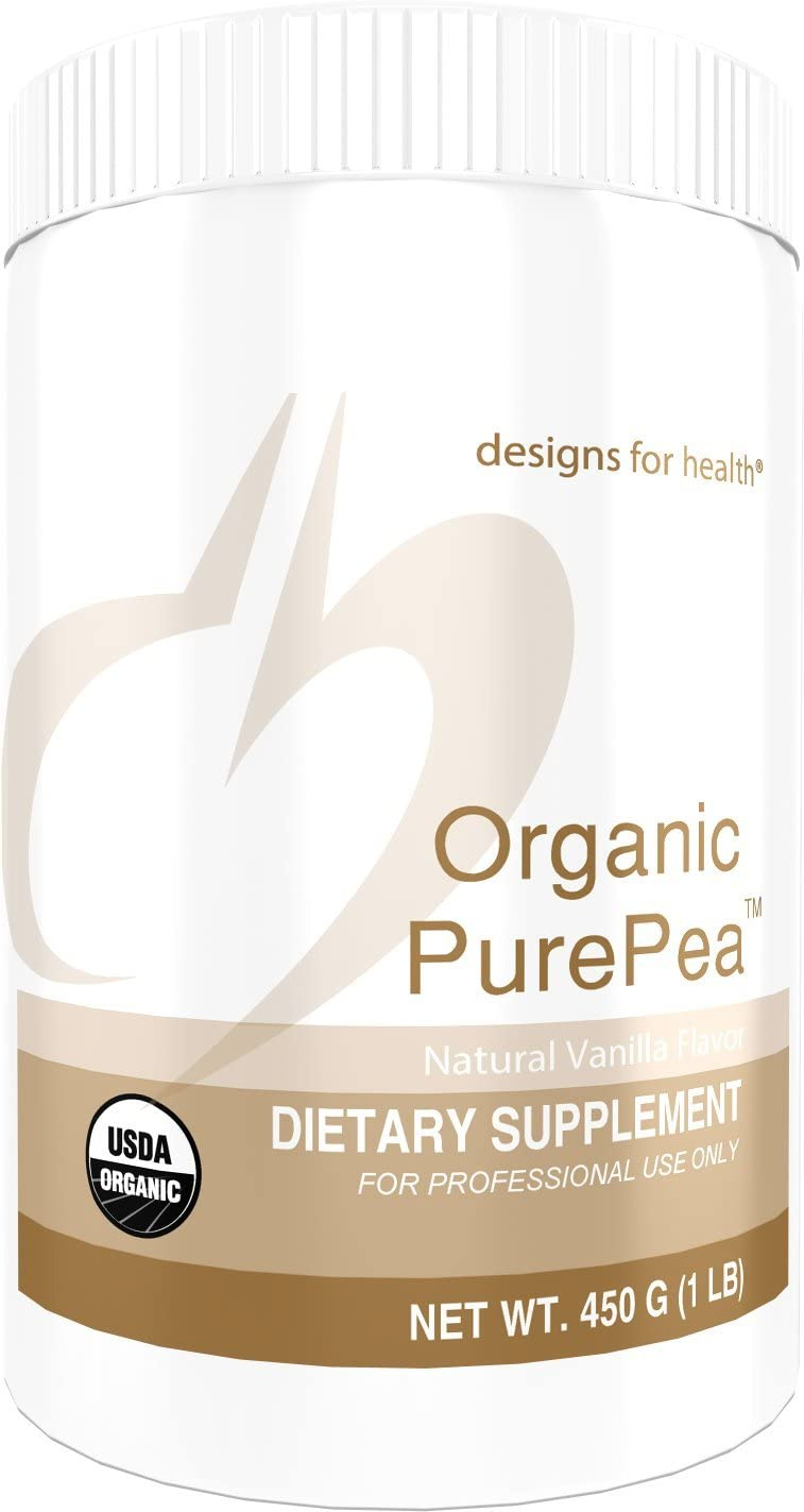 Designs for Health Organic PurePea – Vanilla Pea Protein Powder with 20g Vegan Protein, Organic Non-GMO 15 Servings 450g