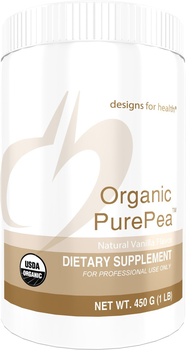 Designs for Health Organic Pea Protein Powder in Vanilla - Organic PurePea Vanilla, 20g Vegan Protein + Non-GMO (1 lb, 15 Servings)