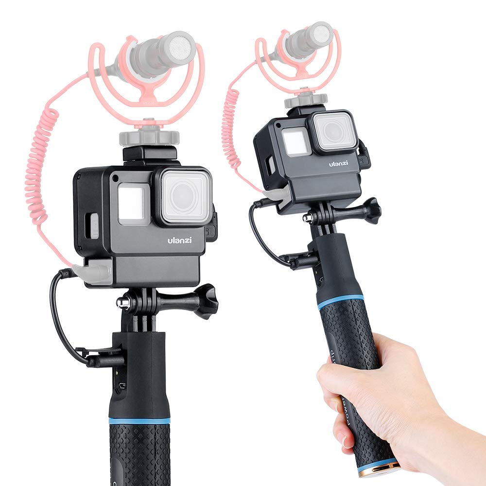 Handheld Vlog Selfie Stick with case for GoPro Hero 7 6 5 W Microphone Mount Rechargeable 5200mAh Battery Monopod Power Bank Grip Can Use for Smartphone/Camera/DJI Osmo Pocket Bottom 1/4'' Extension by Yiliwit ULANZI