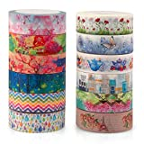 Unique Masking Washi Tape Collection for Arts and DIY Crafts, Scrapbooking, Bullet Journal, Planner, Gift Wrapping (Set of 12 Rolls)