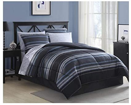 Amazon Com Blue Gray Striped Comforter Set Full Size Bedding Set 8