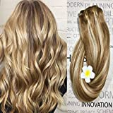 Hair Extensions Human Hair Clip in Dirty Blonde Highlights 12/613 18 inch Balayage