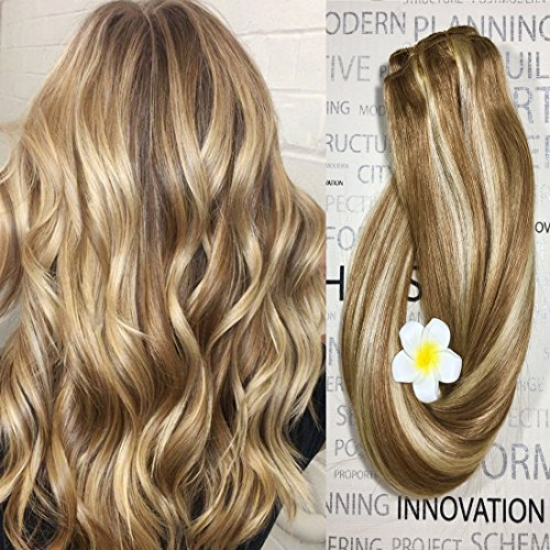 Clip in Hair Extensions Human Hair Dirty Blonde Highlights 12/613 18 inch Balayage Ombre Clip on for Fine Hair Full Head Silky Straight Soft Remy Hair