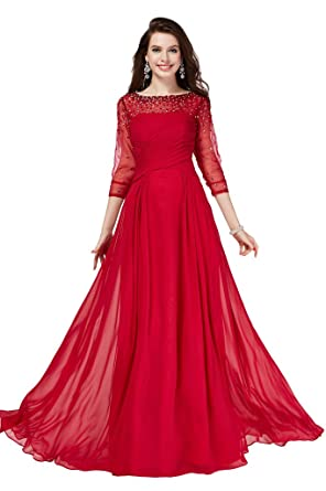 Gorgeous Bride Burgundy Long Sleeves Chiffon Beaded Evening Prom Dress Mother of the Bride Gown-