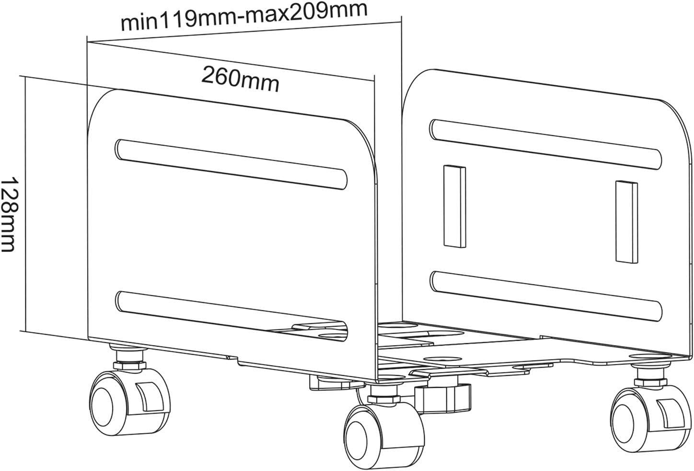 Schwarz Value PC-St/änder rollbarer Computer-St/änder mit regulierbarer Breite zwischen 119-209 mm rollbar