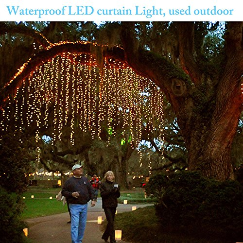 Window Curtain Lights, 300 LED,9.8ft x 9.8ft, 8 Modes Linkable, Waterproof Icicle Fairy Lights,Christmas String Light for Wedding Christmas Holiday Home Patio Bedroom Decoration - Cool White by Unknown (Image #7)