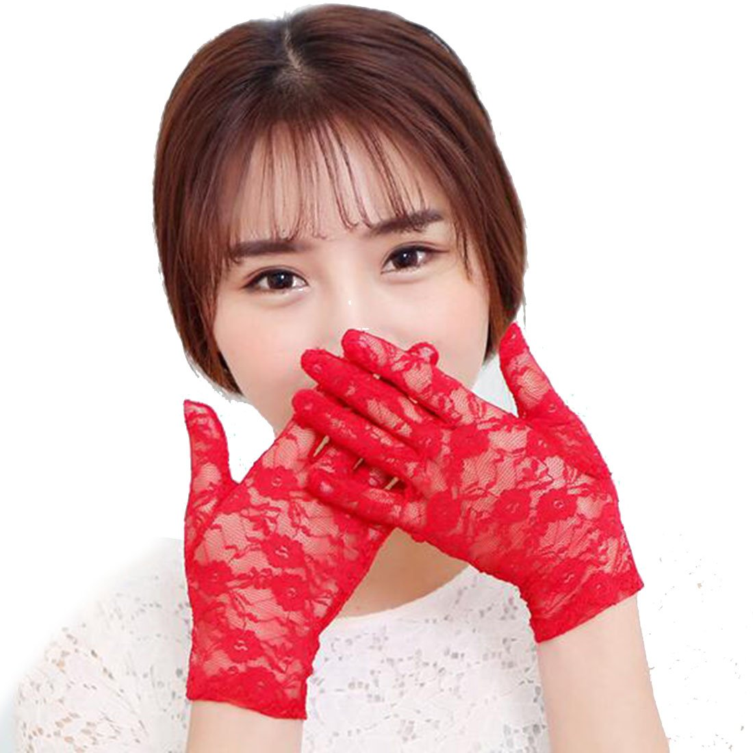 1Pair Women's Lace Hollow-Out Sun Protection Skid Resistance Pattern Lace Gloves Red DUFU160730