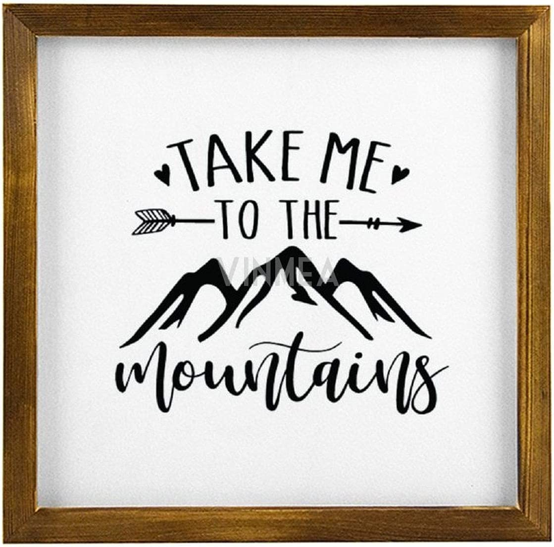 VinMea Home Decor Wood Sign Take Me to The Mountains Framed Wood Sign,Rustic Wall Art Sign 12