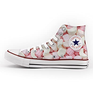 Converse All Star High Customized and Printed - handmade shoes - Italian Brand - Marshmallow