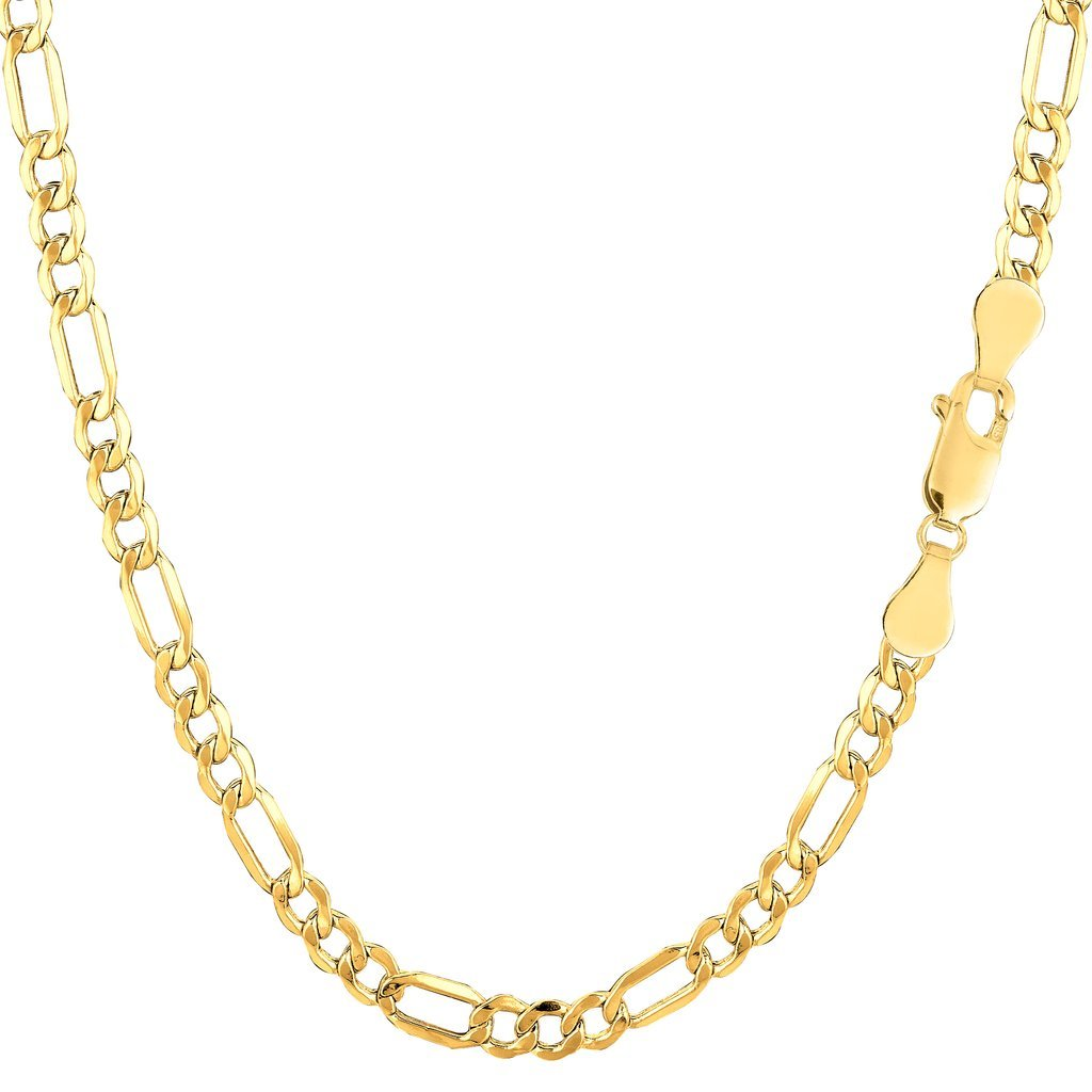 14K Yellow Gold 3.5mm Shiny Diamond-Cut Alternate Classic Hollow Figaro Chain Necklace for Pendants and Charms with Lobster-Claw Clasp (18'', 20'', or 24 inch)