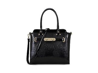cdadba600408 LeahWard Women s Patent Snake Skin Print Shoulder Bags Ladies Designer Tote  Handbags Bag 243 (BLACK