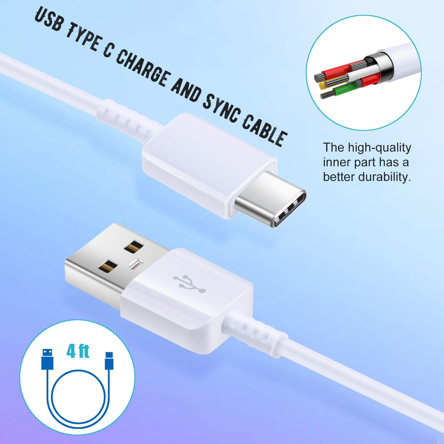 White Costyle 30W Dual 2 USB Car Charger Adapter with Quick Charge QC 3.0 Port and 3.1A Port and 2 Pack 4ft USB Type C Fast Charging Cable Compatible for Samsung Galaxy S10 S9 S8 Plus Car Charger
