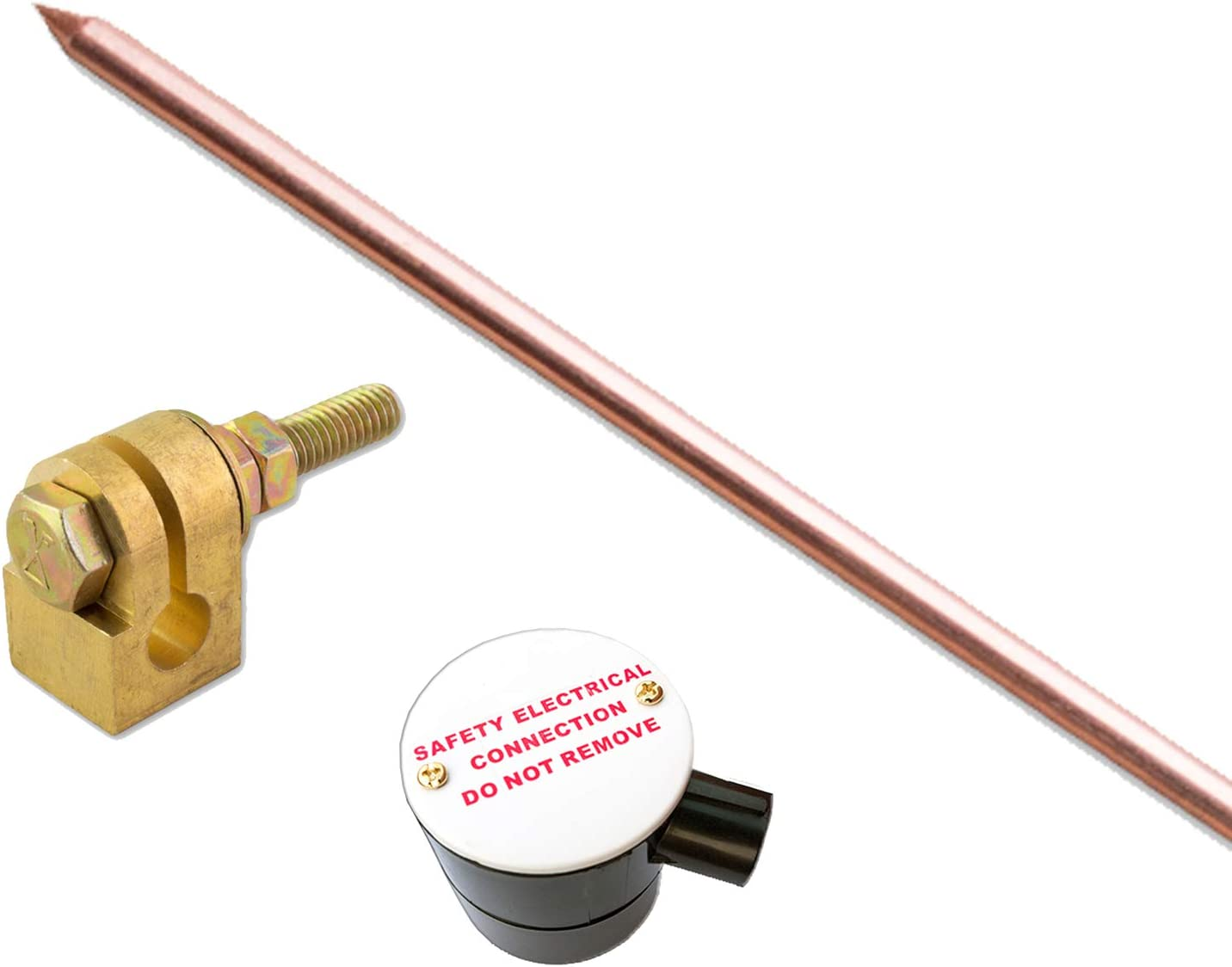 3//8 4FT Copper Earth Rod Complete with Rod to Lug Clamp and Earth Connection Box ECB