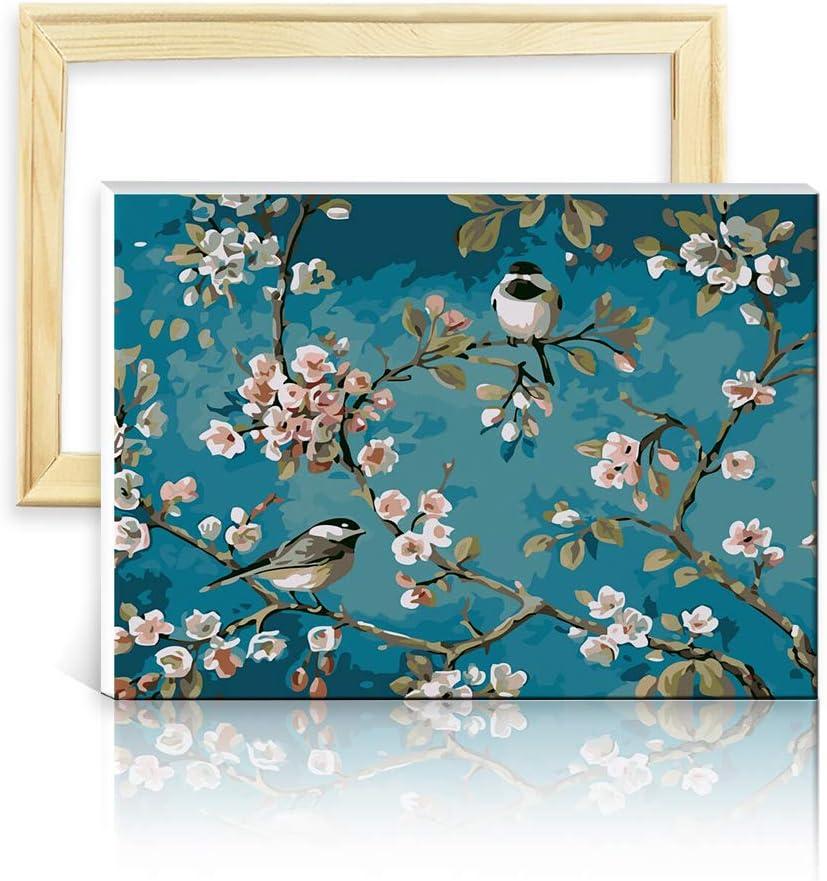 decalmile Pintura por Número de Kits DIY Pintura al óleo para Adultos Niños como Pájaros en Las Ramas 16