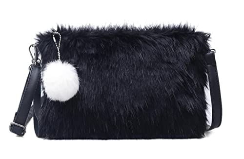 2f21b4127 BeeChamp Women Faux Fur Black Envelope Clutch Fluffy Crossbody ...