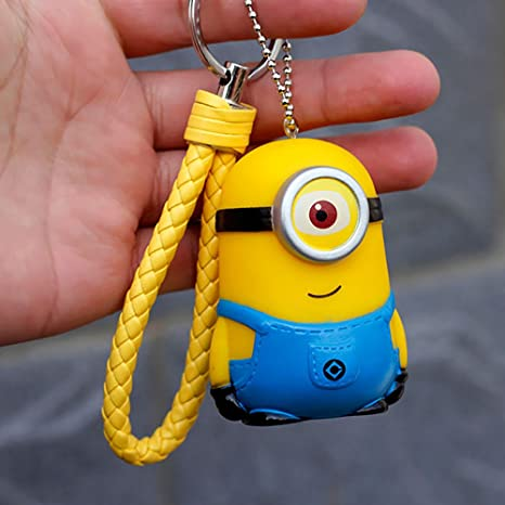 DEBON Despicable Me Minions llavero etiqueta teléfono celular 3D vinilo figuras adorno llavero decoración para bolso
