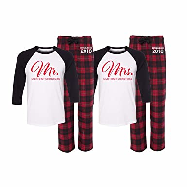 Our First Christmas Mr. and Mrs. Pajama Set of 2 (L Mrs. - XL Mr ... 42e8ed12c