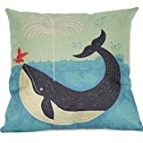 Decorative Pillow Cover - Water dolphins Cotton Linen Throw Pillow Cover Home Decorative Pillowcase Cushion Cover