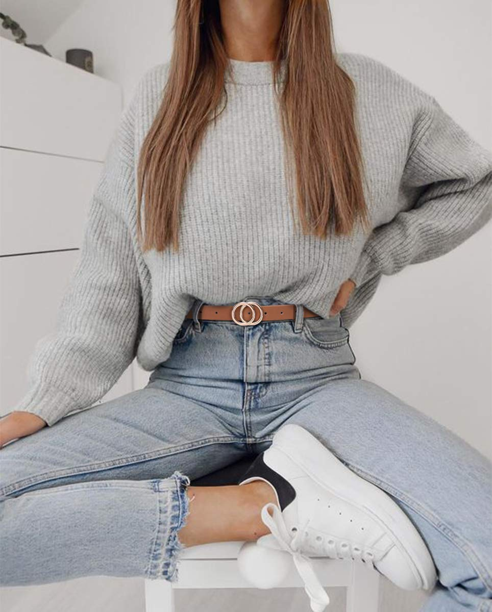 Women's Leather Skinny Belts for Dress Jeans Pants Fashion Soft Leather Waist Belts with Double O-Ring Buckle