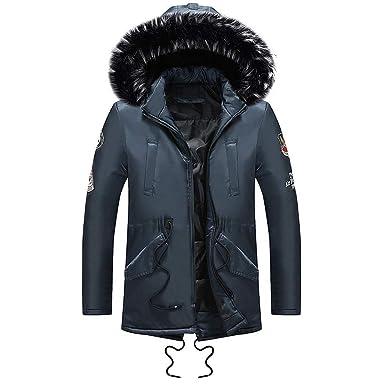 Amphia - Mantel mit Kapuze für Herren - Männer Winter Langarm Tasche  Pelzkragen Mit Kapuze Outwear Jacke Mantel Plus Größe  Amazon.de  Bekleidung 89c51a5ff4