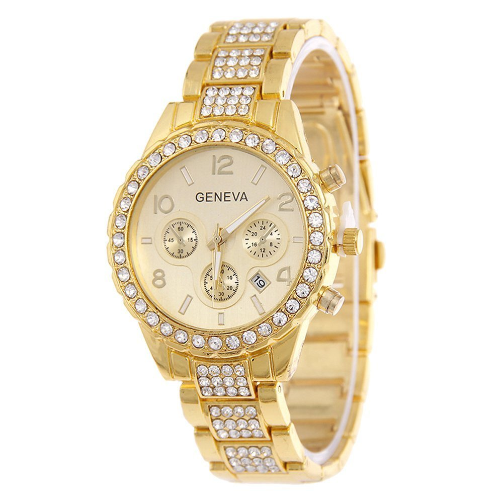 Unisex Classic Luxury Iced Out Pave Floating Crystal Quartz Calendar Stainless Steel Watch (style 2, Golden) - Happy Hours