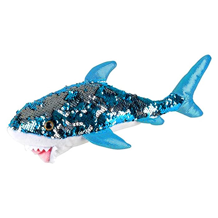 "Sequinimals Sequin Plush Great White Shark SMALL ~Adorable 14"" Stuffed Animal by Reversible Sequins Turquoise to Silver (Small)"