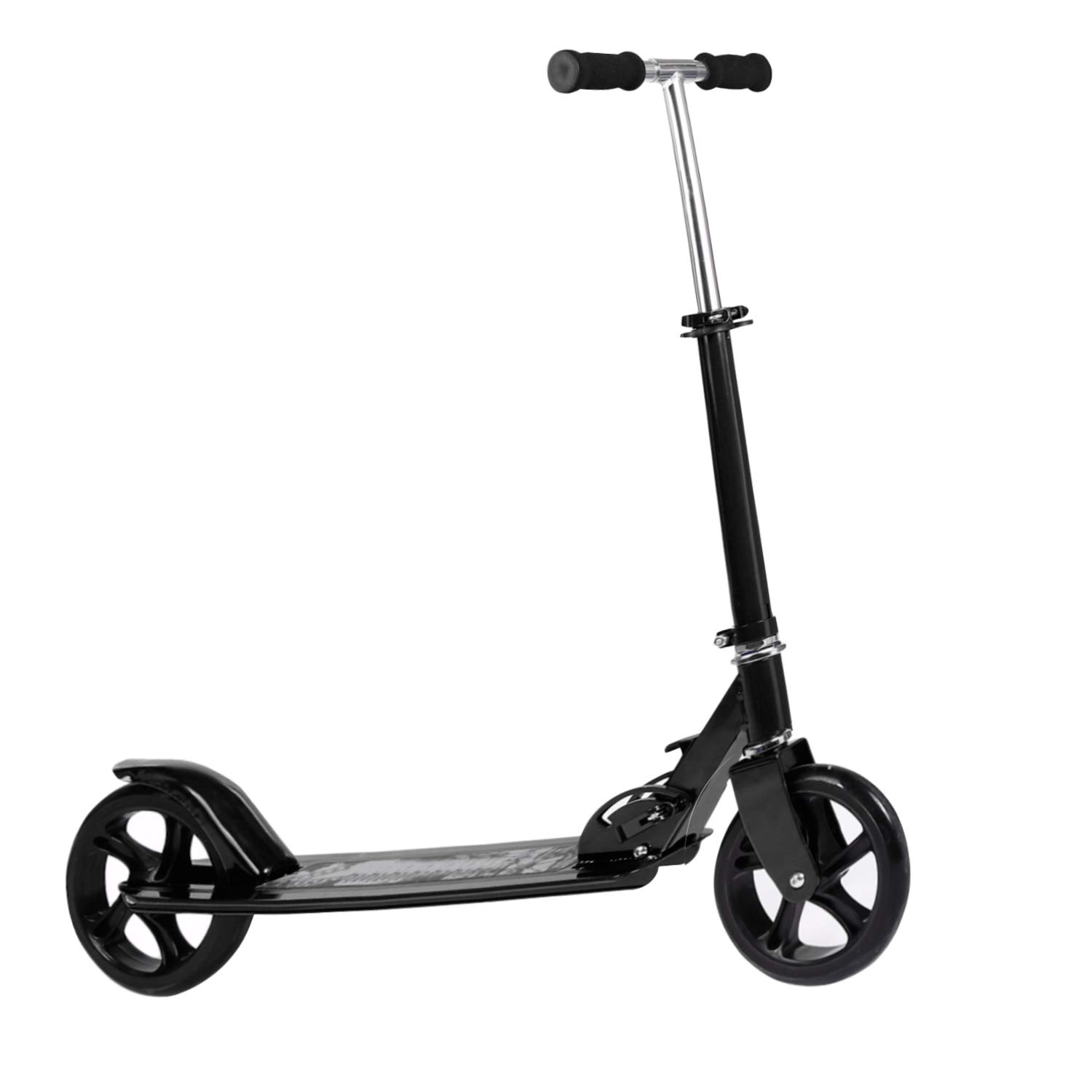 Kids/Adult Scooter with 3 Seconds Easy-Folding System, 220lb Folding Adjustable Scooter with/Without Disc Brake and 200mm Large Wheels (Sim-B)