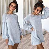 Overmal Womens O-Neck Long Sleeve Knitting Mini Dress Fashion Sexy Dress