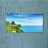 SCOCICI1588 lightweight towel Uluwatu Temple Bali Indonesia Seacoast Cliff Horizon Seascape Blue Green for Home, Hotel and Spa L27.5 x W13.8 INCH