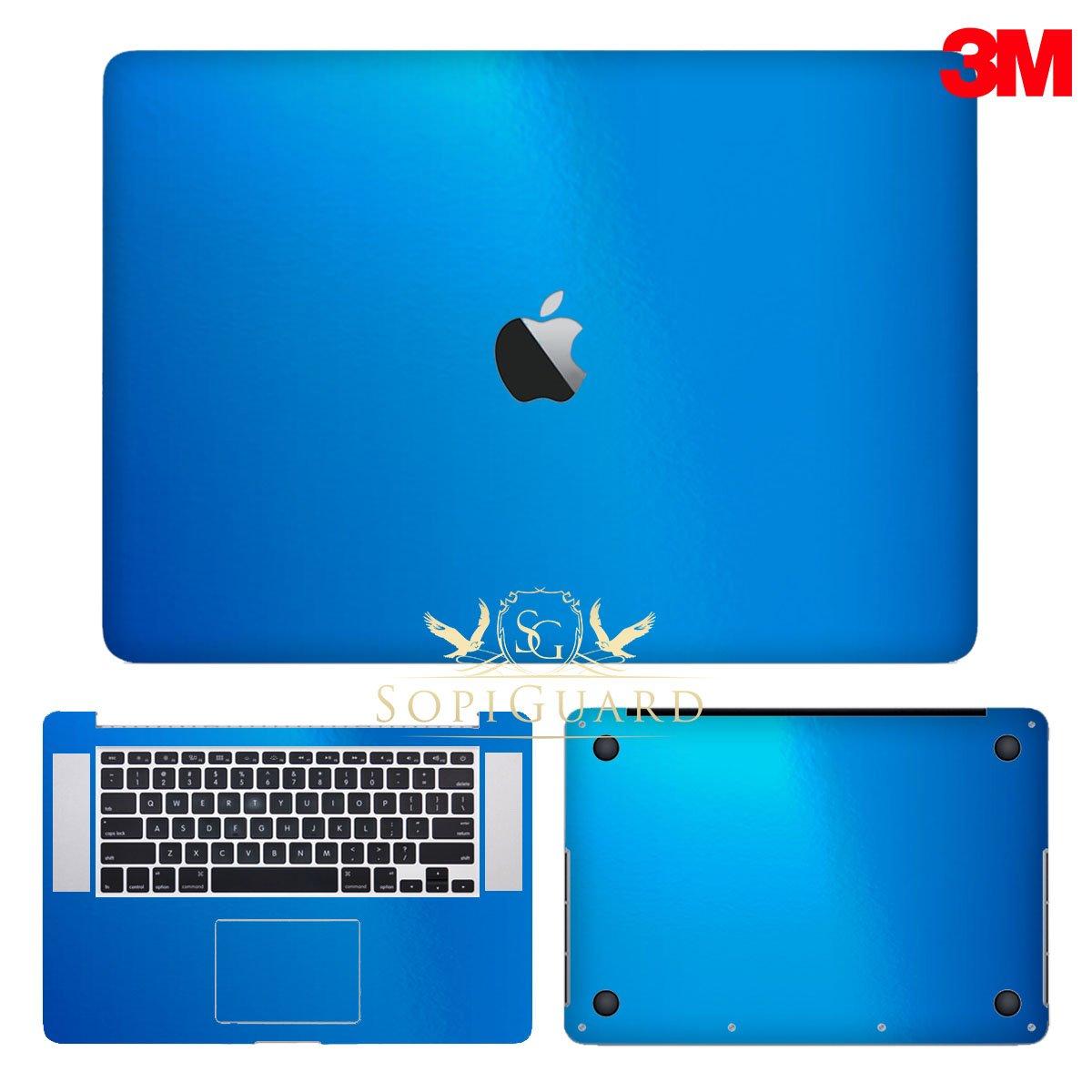 SopiGuard 3M Gloss Blue Precision Edge-to-Edge Coverage Vinyl Sticker Skin for Apple Macbook Pro 15 Retina (A1398)