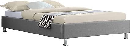 IDIMEX - Cama futón individual para adulto Nizza, 120 x 190 cm, 1 plaza y media / 1 persona, con somier y patas de metal cromado, tapizado en tela ...