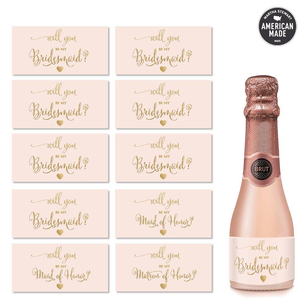Amazon.com: Wedding Party Mini Champagne Bottle Labels, Set of 10 ...