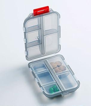 BoomYou Pastillero dispensador de bolsillo portátil organizador de viaje prescripción & medicación recordatorio joyería tornillos contenedor