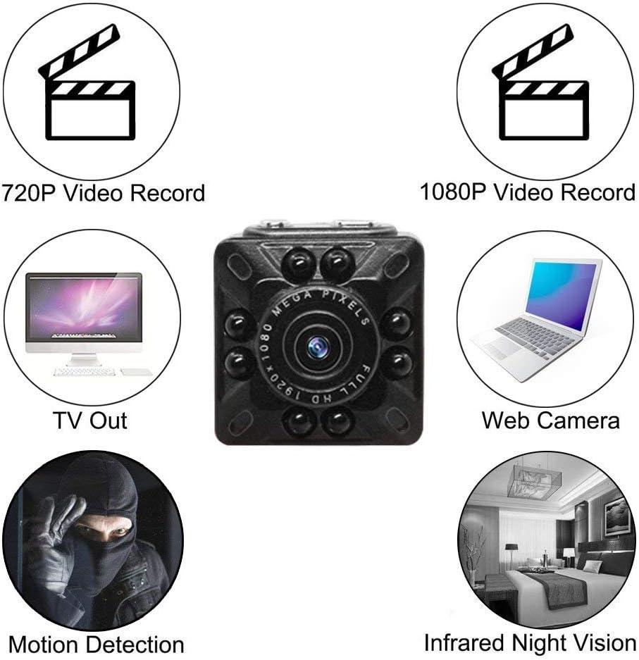 Anviker Mini C/ámara Esp/ía,C/ámara HD 1080p y 720P HD,C/ámara de V/ídeo Peque/ña Port/átil con Detecci/ón de Movimiento y Visi/ón Nocturna por Infrarrojos,C/ámara de Vigilancia Peque/ña par