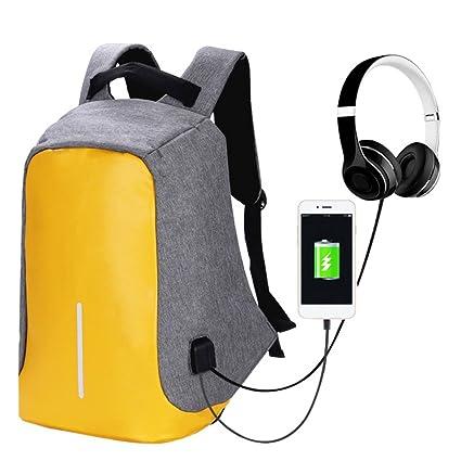 iShine - Mochila para ordenador portátil, con puerto de carga USB, resistente al agua para hombre y ...