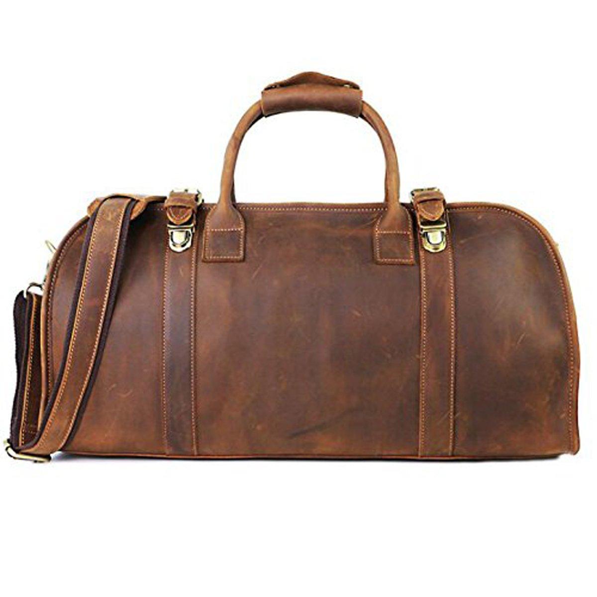 Zhihui – 20.4」レザーダッフルバッグレトロメンズウィークエンダー旅行トート荷物ジムバッグ – Carry On Luggage  ブラウン B076SFKL1L