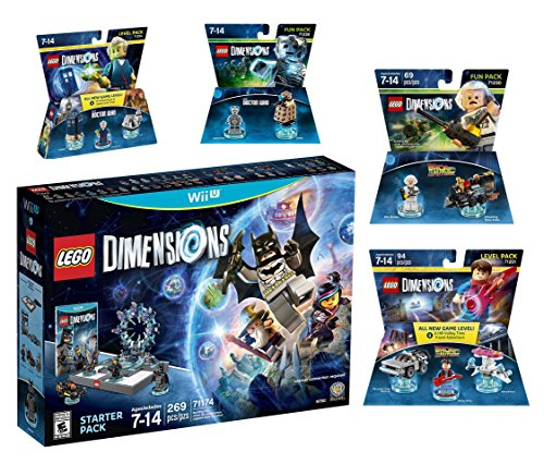 Lego Dimensions Time Traveler Starter Pack + Doctor Who Level Pack + Cyberman Fun Pack + Back To The Future Marty McFly Level Pack + Doc Brown Fun Pack for Nintendo Wii U Console by WB Lego