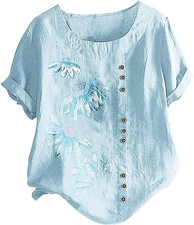 Womens Loose Button Linen Plus Size Boho Tanic T-shirt Blouse Tops Short Sleeve