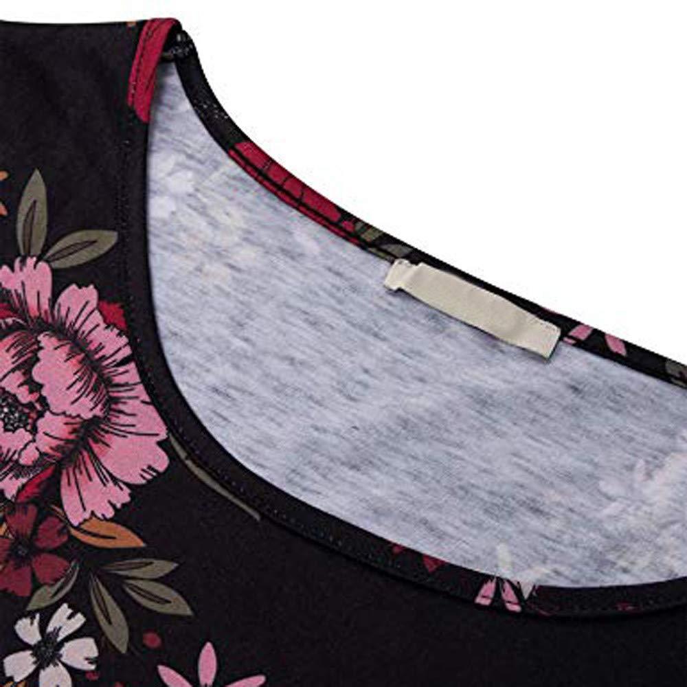 SCHOLIEBEN Women Plus Size Long Sleeve Print O-Neck Button Pullover Tops Shirt