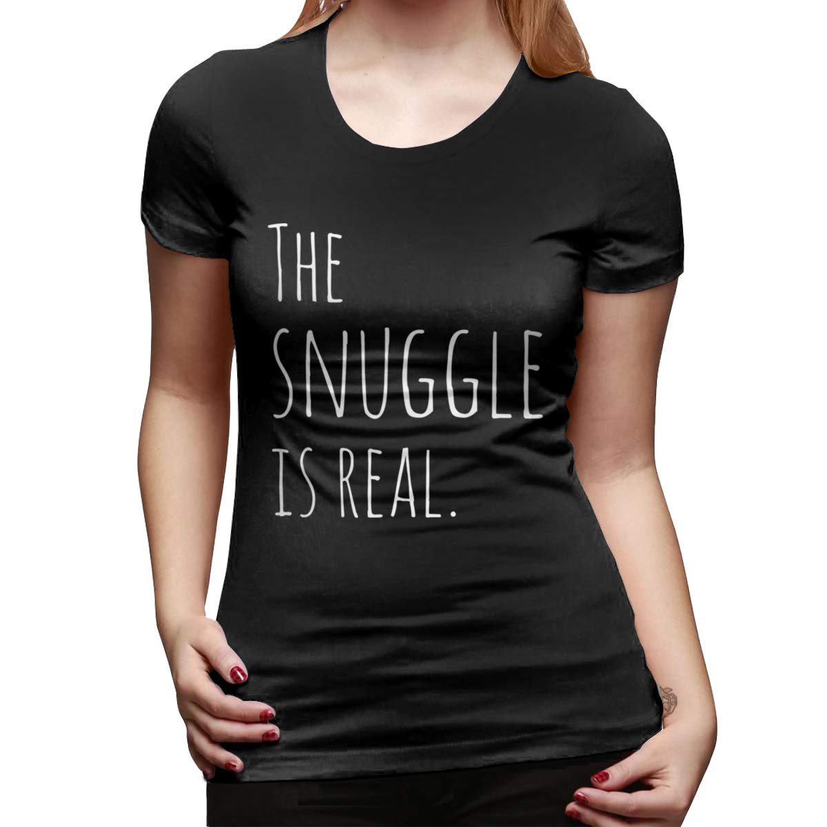Seuriamin The Snuggle is Real Womens Fashion Hiking Round Neck Short Sleeve Tee Shirt Tops