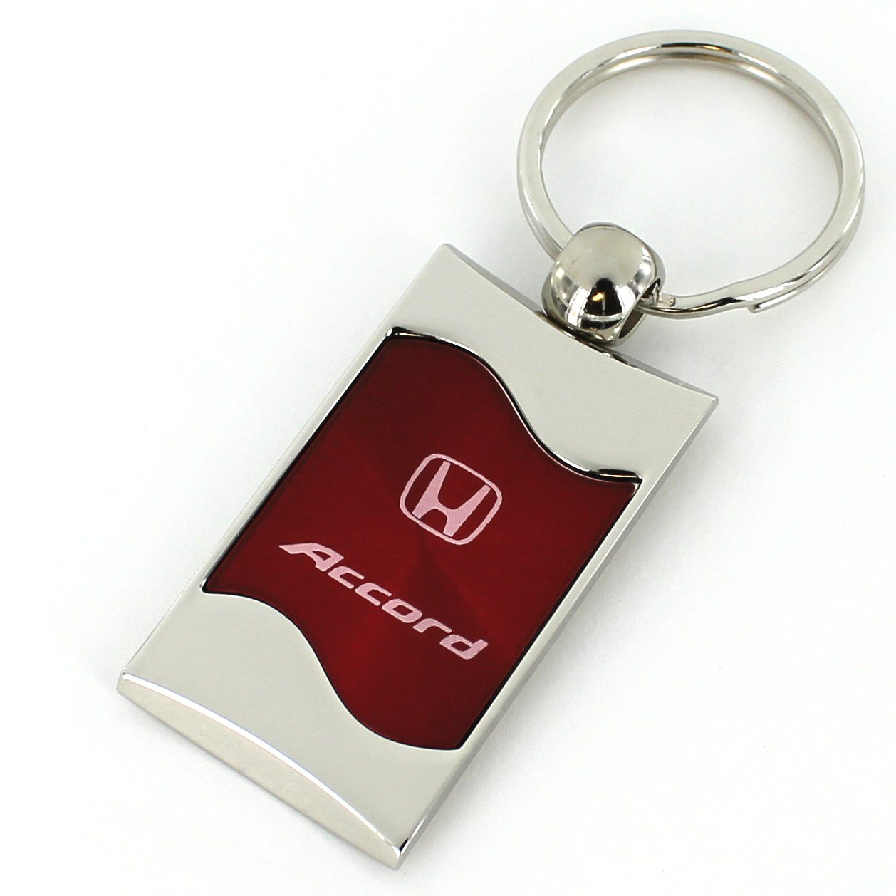 Honda Accord Red Spun Brushed Metal Key Chain