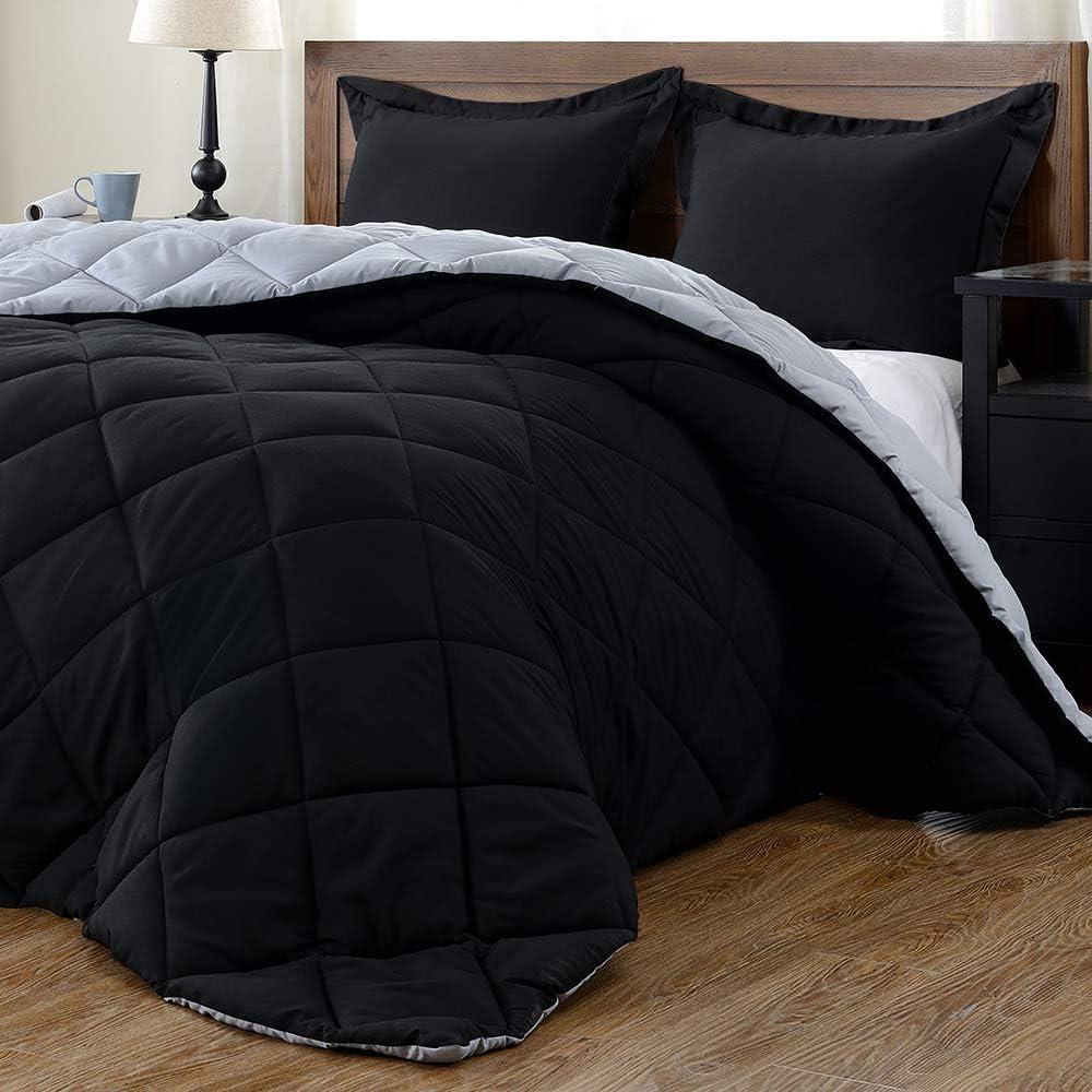 downluxe Lightweight Solid Comforter Set (Queen) with 2 Pillow Shams - 3-Piece Set - Black and Grey - Down Alternative Reversible Comforter